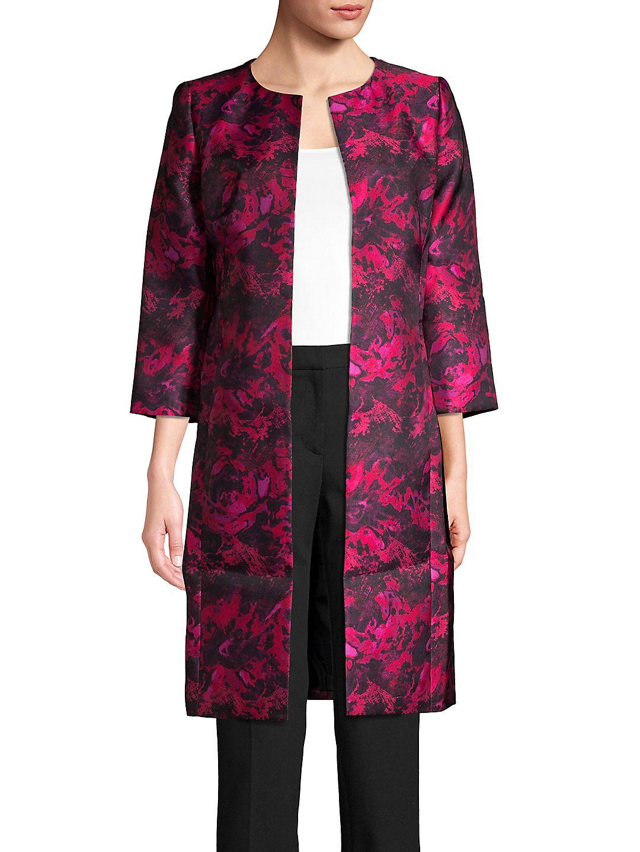 Jewel Neck Printed Longline Jacket