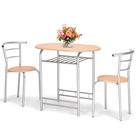 Costway 3 PCS Bistro Dining Set Table and 2 Chairs Kitchen Pub Home Furniture (Asian Table Restaurant)