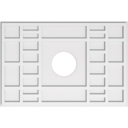 Ekena Millwork CMP36X24BX-07000 7 in. ID x 12.5 in. Rectangle Beaux Architectural Grade PVC Contemporary Ceiling Medallion - image 1 de 1