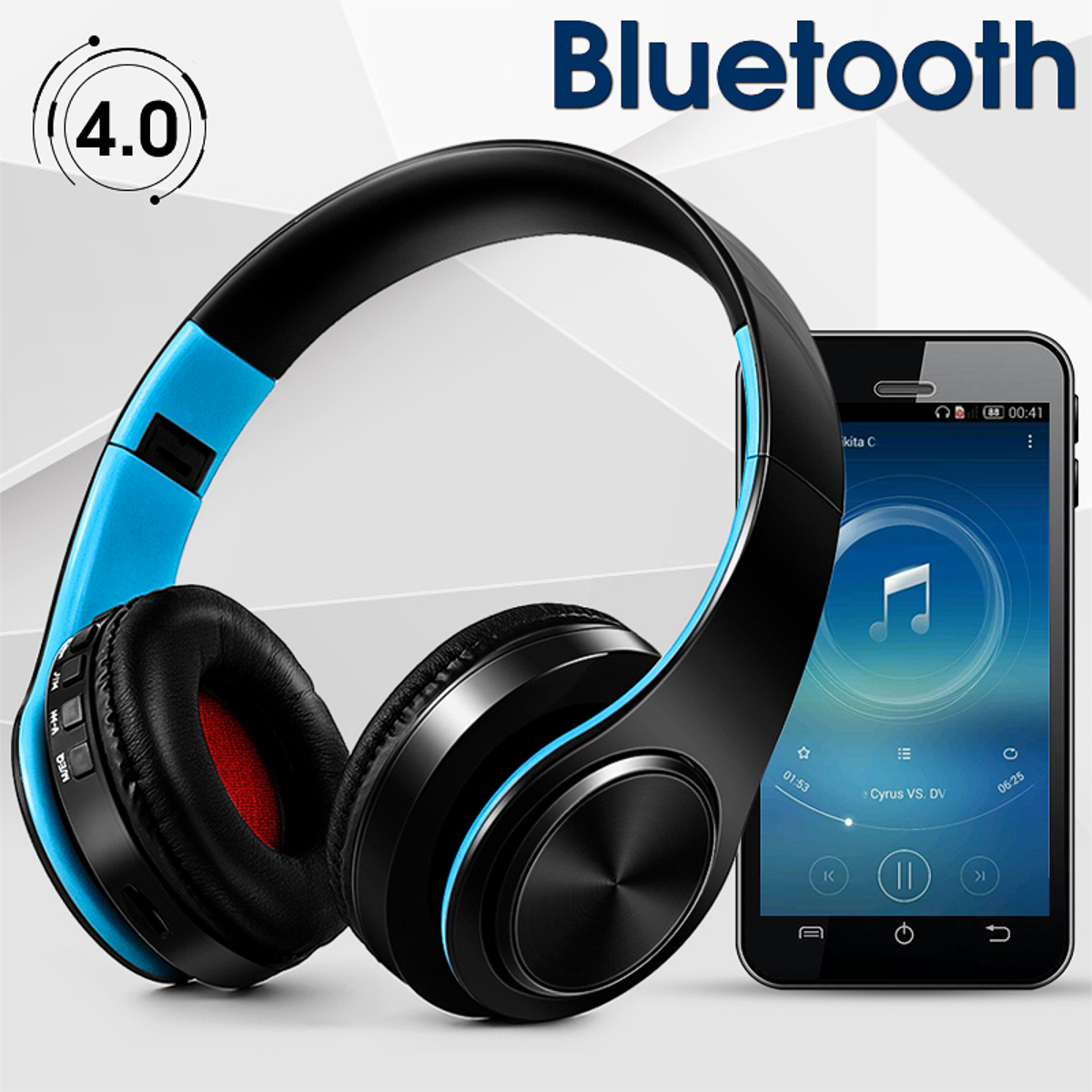 Rechargeable On Ear Noise Cancelling Bluetooth Headphones HI-FI Stereo Surround Foldable Wireless Headsets for Cell Phone, Tablet PC Laptop, MP3/4, Video Game
