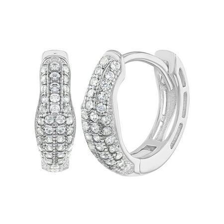 0.5' Hoop Huggie Earrings - 925 Sterling Silver Clear Cubic Zirconia Huggie Hoop Earrings for Women 0.51