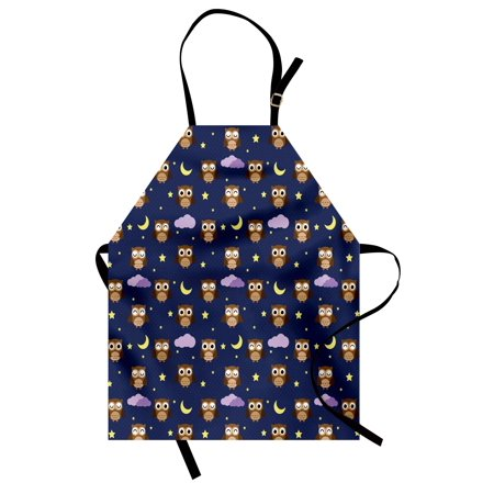 Moon Apron (Nursery Apron Cute Owls in an Starry Night and Moon Happy Sleepy and Alert Animals, Unisex Kitchen Bib Apron with Adjustable Neck for Cooking Baking Gardening, Night Blue Brown Yellow, by Ambesonne )