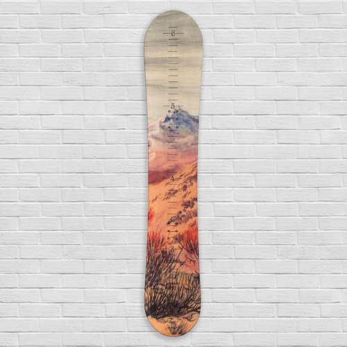 Zoomie Kids Ingleside Mountain Snowboard Wooden Growth Chart by