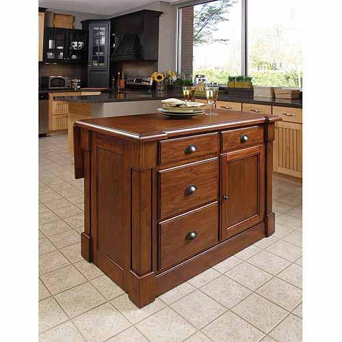 home styles aspen rustic cherry kitchen island - walmart