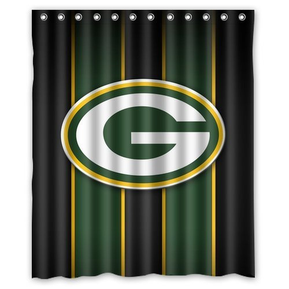 DEYOU Green Bay Packers Shower Curtain Polyester Fabric Bathroom Shower Curtain Size 60x72 inch
