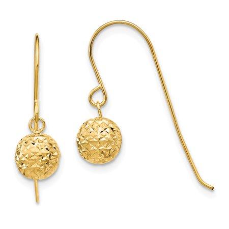 Roy Rose Jewelry 14K Yellow Gold 6mm Diamond Cut Bead Dangle Earrings Cut Dangle Yellow Gold Earrings