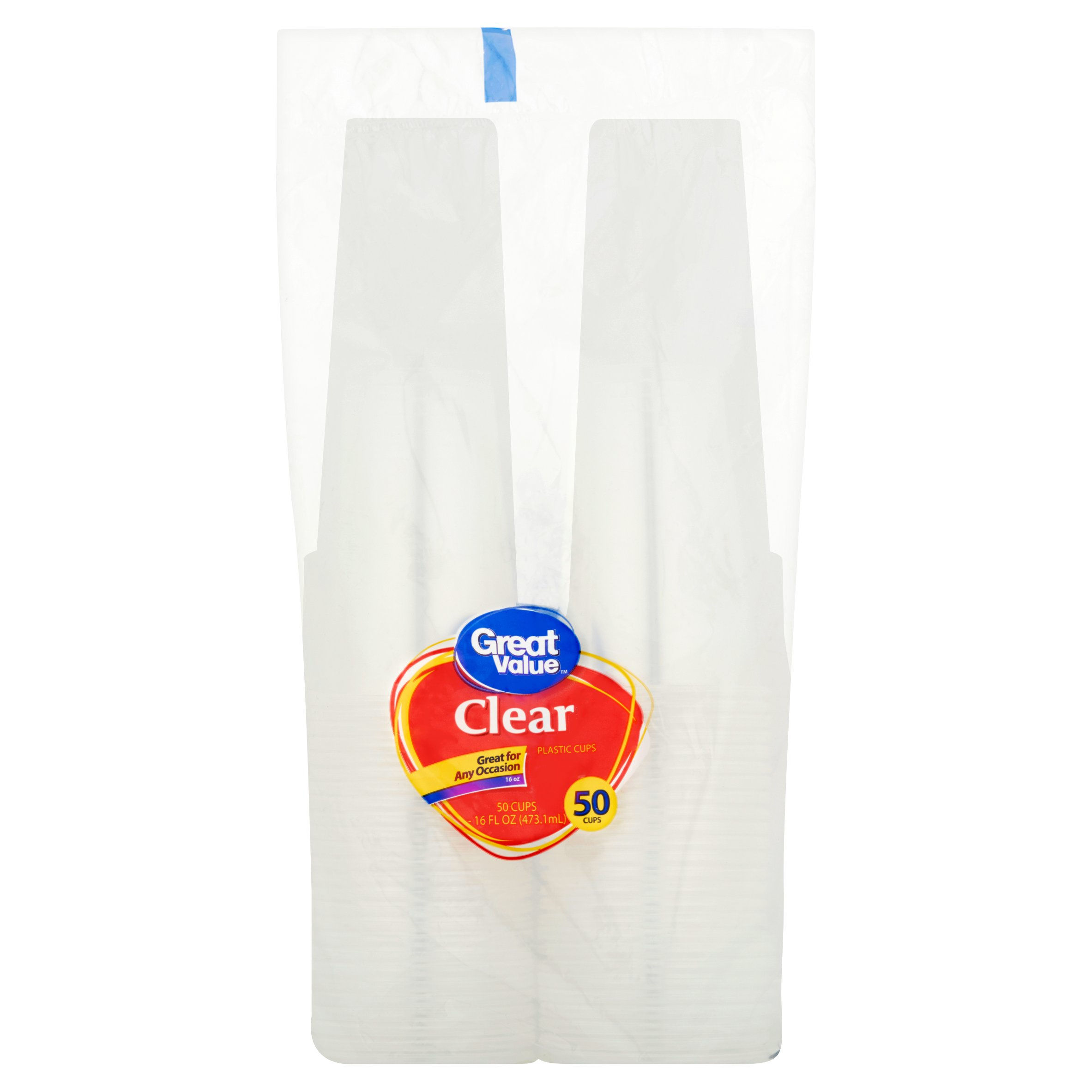 Great Value 16 oz Clear Cups, 50 ct