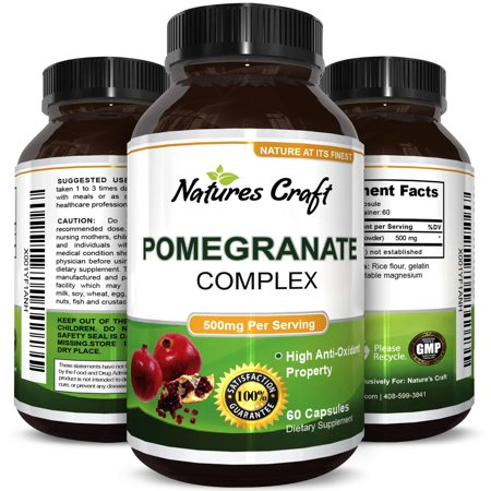 Natural & Pure Pomegranate Supplement For Women & Men - Powerful Antioxidant Pills + Immune System Booster - Best Energy Booster Supplements + Blood Pressure Control - Pure Capsules By Natures