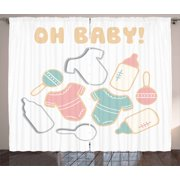 Oh Baby Curtains 2 Panels Set, Newborn Baby Element Pattern with Infant Bodysuit Feeding Bottle and Rattle Figures, Window Drapes for Living Room Bedroom, 108W X 63L Inches, Multicolor, by Ambesonne