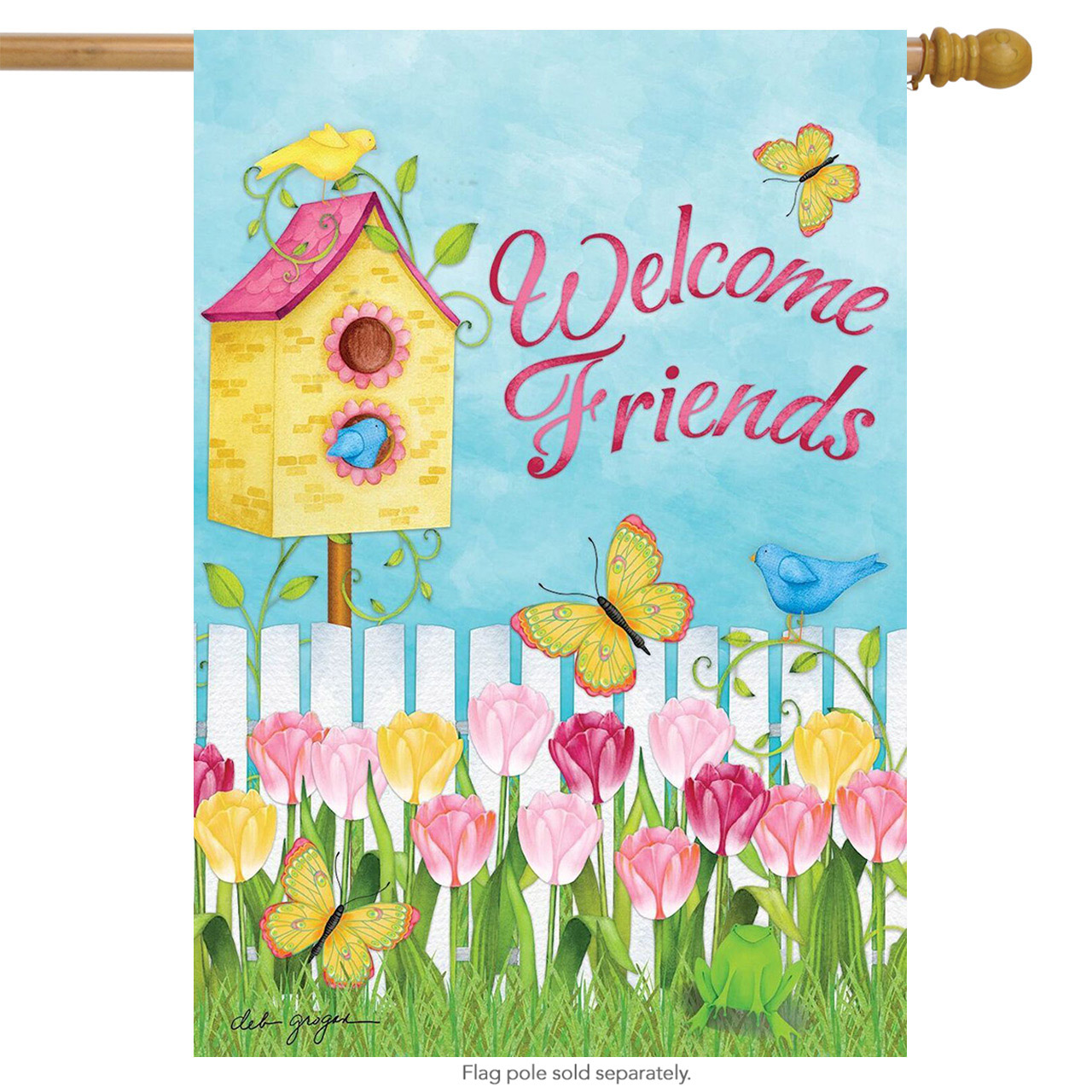 "Sunshine Garden Spring House Flag Welcome Friends Birdhouse Floral 28"" x 40"" by"