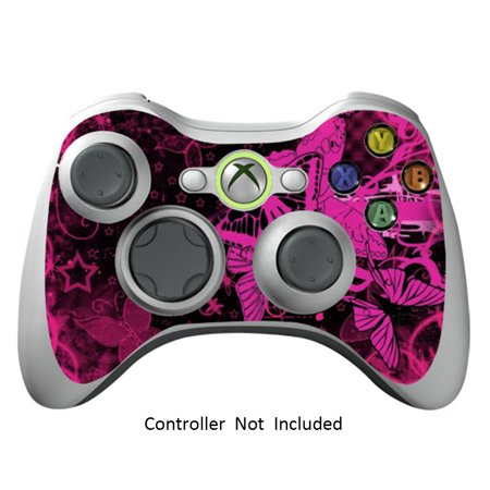 Controller Skin Stickers for Xbox 360 Vinyl X360 Slim Remote Protective Cover Wired Wireless Gamepad Decal - Pink Butterfly (Xbox 360 Remote Skins)