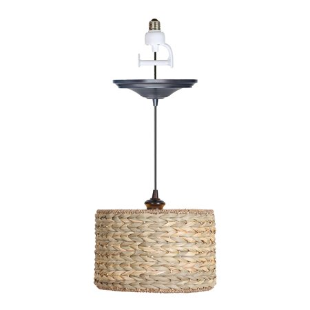 Instant Pendant Recessed Light Conversion Kit Brushed Bronze Grass Weave Shade ()