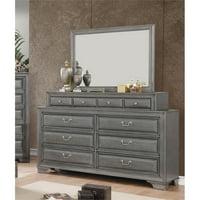 Furniture of America Bradford 10-Drawer Dresser and Mirror Set in Gray