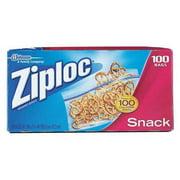 ZIPLOC CB011443 Reclosable Bag, Snack, Clear, Plastic, PK100