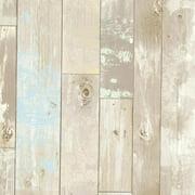 Brewster Dean Blue Distressed Wood Panel Wallpaper