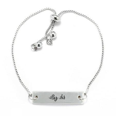 Big Sis Script Silver Bar Adjustable Bracelet - Big Sis Bracelet