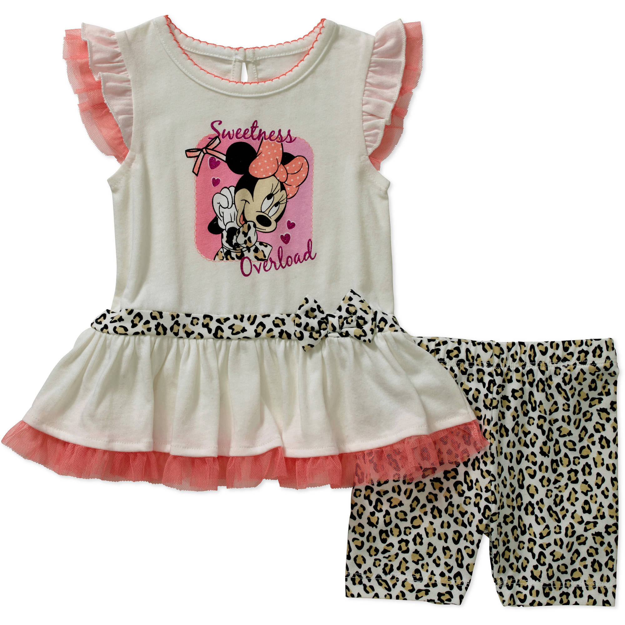 Minnie Mouse Newborn Baby Girl License Fashion Knit Top with Bike Short Set - 2 Pieces