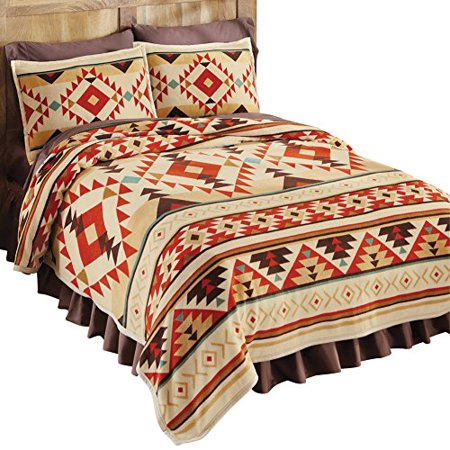 Southwest aztec patterned fleece coverlet orange king for Southwest beds