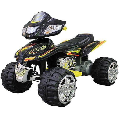 Monster Trax ATV 12-Volt Battery-Powered Ride-On, Black ...
