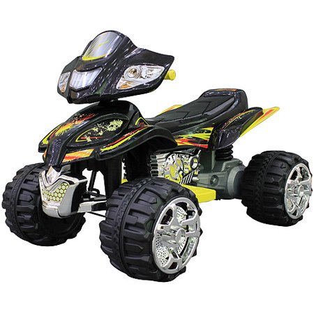 monster trax atv 12 volt battery powered ride on black yellow. Black Bedroom Furniture Sets. Home Design Ideas
