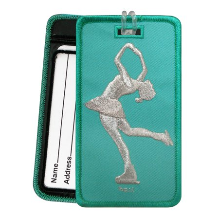 Magnetic Impressions Figure Skater Layback Luggage Tag - Embroidered Set of 2 Aqua