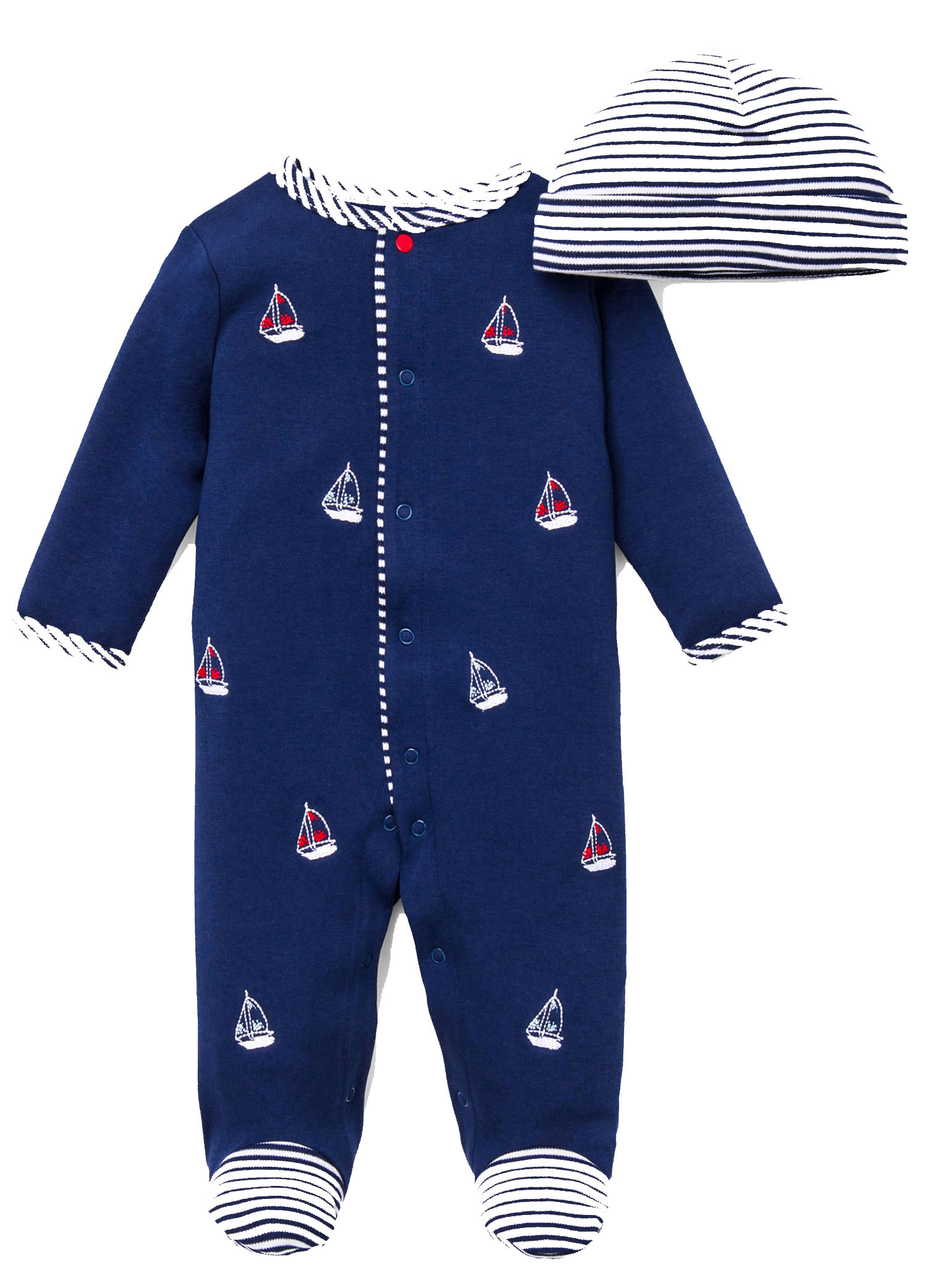 Baby Boys Sailboat Nautical Snap Front Footie Pajamas with Hat For Baby Boys Sleep N Play One Piece Romper Coverall Cotton Infant Footed Sleeper; Pijamas Para Bebes - Red, White, Navy Blue - 3 Month
