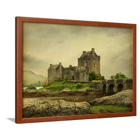 Castle Photo - Eilean Donan Castle on a Cloudy Day. Low Tide. Scotland, Uk. Photo in Retro Style. Paper Texture. Framed Print Wall Art By A_nella