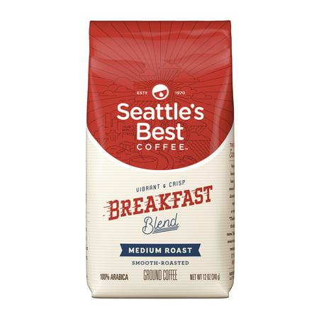 Coffee Breakfast Set - Seattle's Best Coffee Breakfast Blend Medium Roast Ground Coffee, 12-Ounce Bag