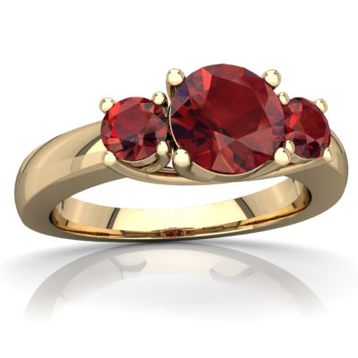 Garnet Three Stone Trellis Ring in 14K Yellow Gold by
