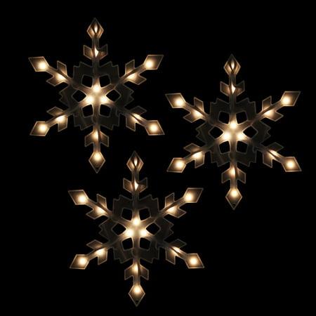 Snowflake Christmas Lights.Set Of 3 Clear Lighted Snowflake Icicle Christmas Lights White Wire