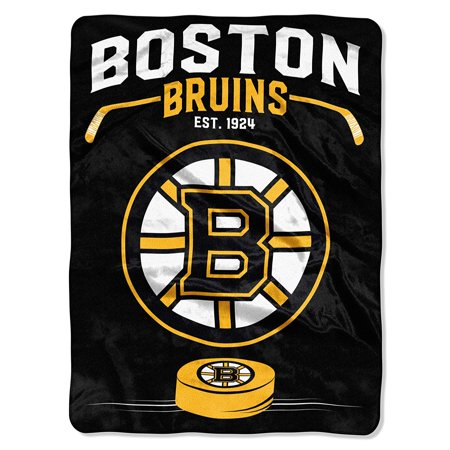 "Officially Licensed NHL Boston Bruins Inspired Plush Raschel Throw Blanket, 60"" x 80"", 100% Polyester By The NorthwestWalmartpany"