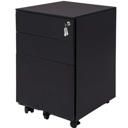 File Cabinet with 3 Drawers, Rolling File Carts with Wheels, Filing Cabinet with Lock and Key, Steel Lateral File Cabinet with Hanging File Frame Holds up to 176 lbs for Legal, Business Files, Q2086 (Filing Cabinet Frame)