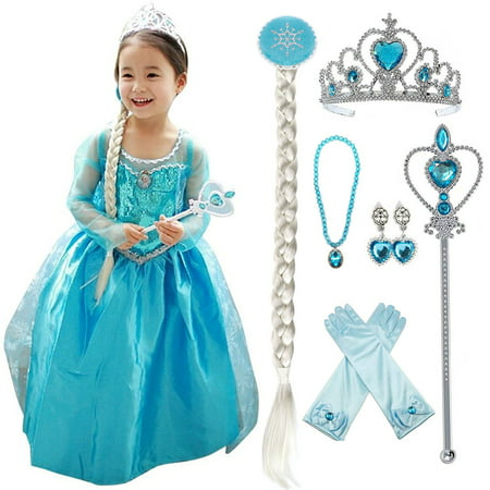 Princess Crown Costume (Snow Queen Princess Elsa Costumes Birthday Dress Up for Little Girls with Crown,Mace,Gloves)
