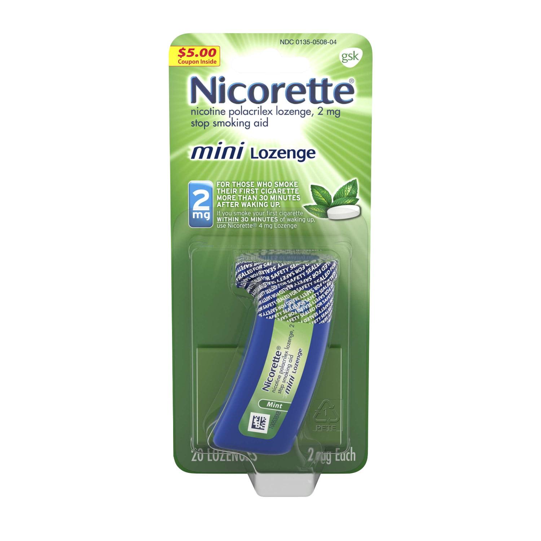 Nicorette mini Nicotine Lozenge, Stop Smoking Aid, 2 mg, Mint Flavor, 20 count
