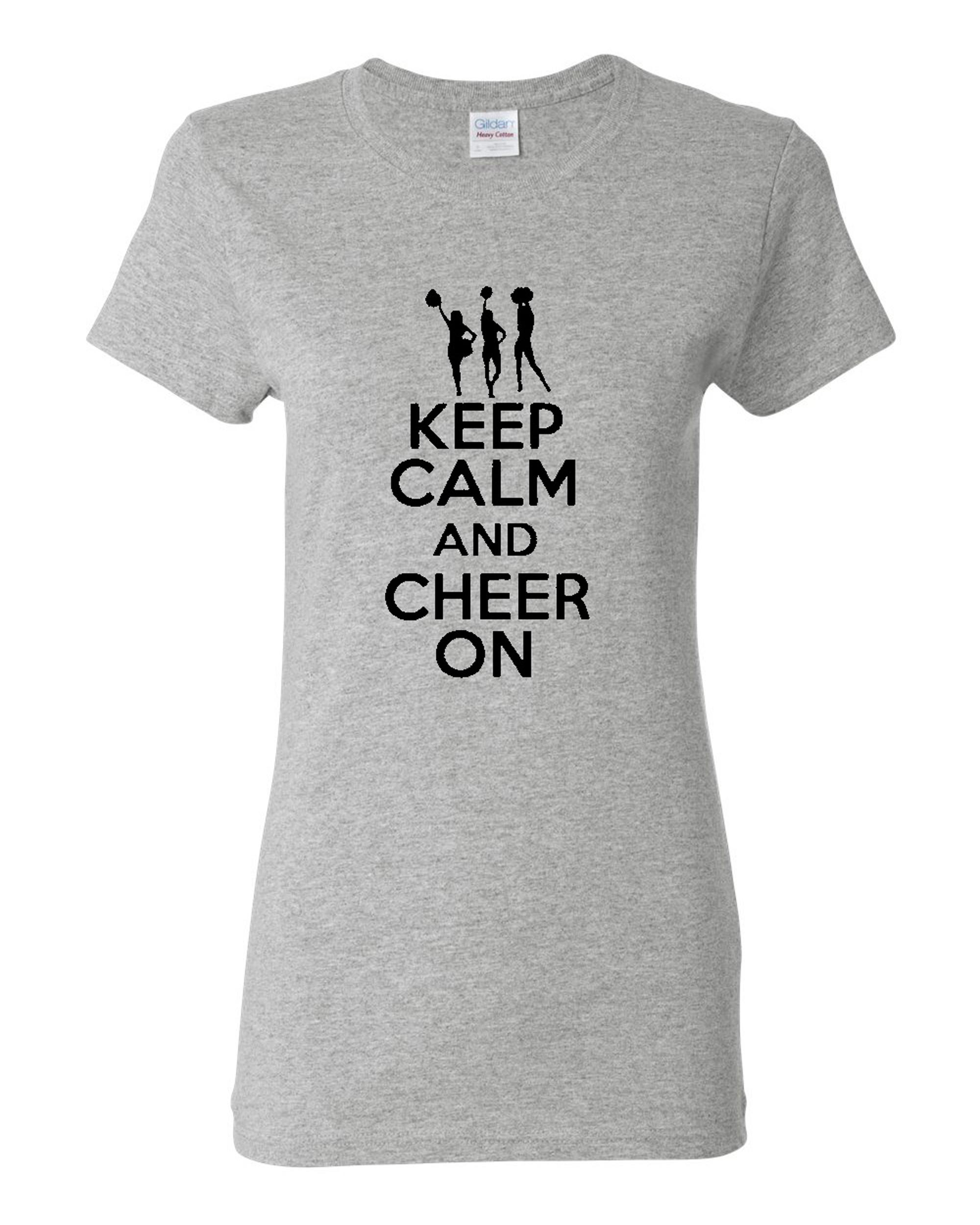 Ladies Keep Calm and Cheer On T-Shirt Tee