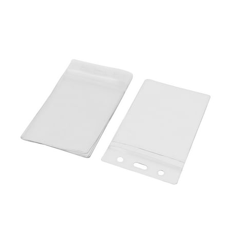 5pcs Vertical Clear Plastic Zip Lock ID Card Name Business Badge Holders Case - Plastic Name Badge Holders