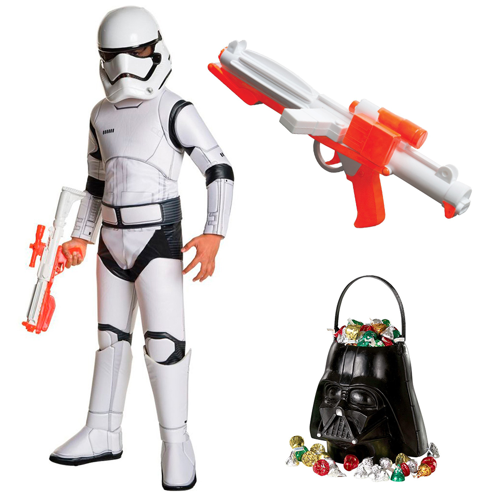 Star Wars Ep VII: The Last Jedi - Storm Trooper SPR DLX Child Costume with Blaster and Candy Pail - Size SMALL