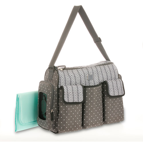 Child of Mine Places and Spaces 3 Pocket Duffle Diaper Bag - Grey