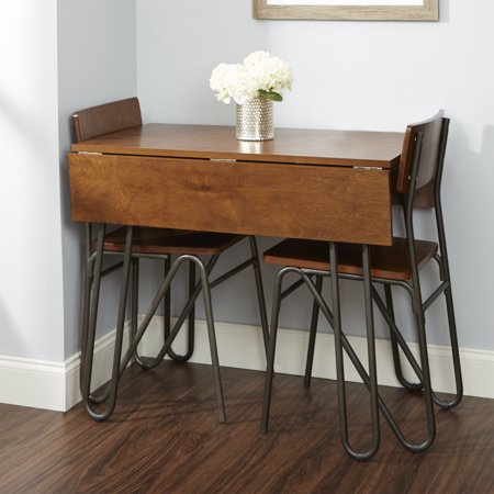 Silverwood Henry Wood and Metal Drop Leaf Table with Hairpin Legs ()