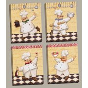 4 Happy French Chef Set Kitchen Decor Four 8x10 Sin Tretched Canvases