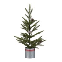 """Holiday Time Snow Pine Tree with Red Striped Metal Bucket Christmas Decoration, 24"""""""