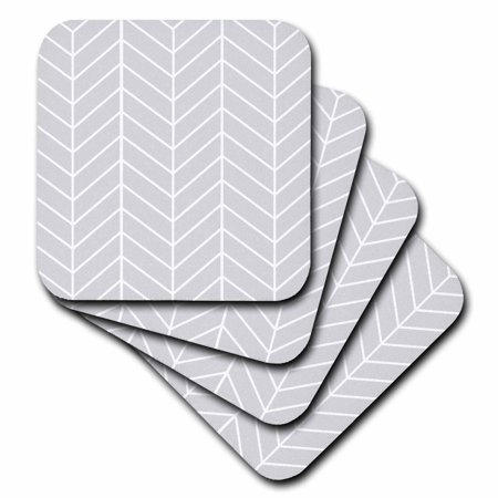 3dRose Light Grey herringbone - gray chevron arrow feather inspired pattern, Soft Coasters, set of 8