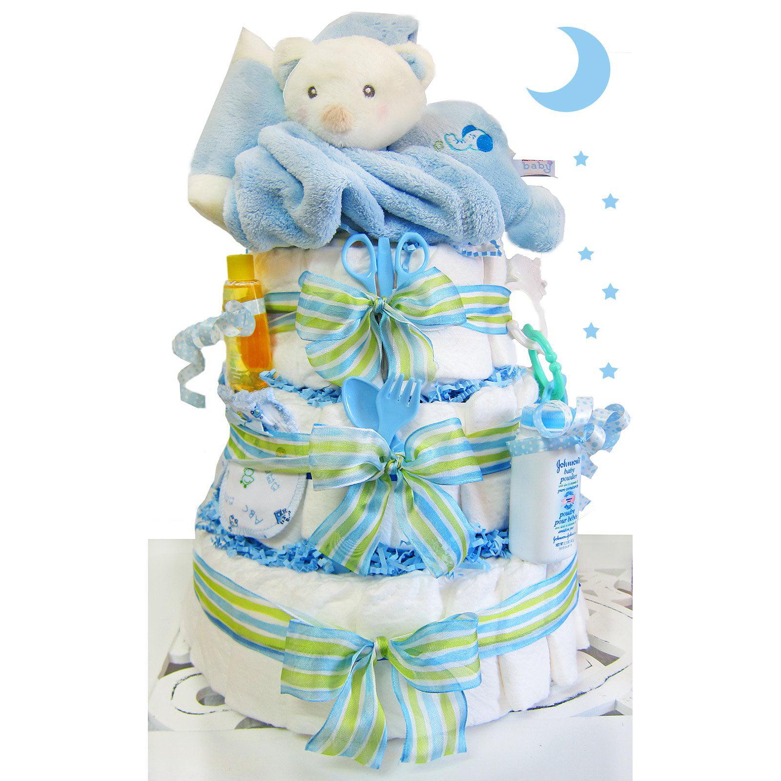 Sleepy Bear 3 Tier Diaper Cake - Boy