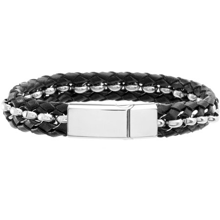 magnetic bracelet walmart s stainless steel black braided leather magnetic 4980