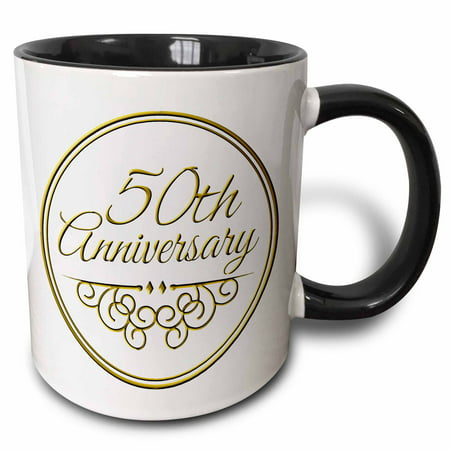 3dRose 50th Anniversary gift - gold text for celebrating wedding anniversaries - 50 years married together - Two Tone Black Mug, 11-ounce
