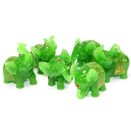 XXXXX Feng Shui Set of 6 Green Elephant Trunk Statues Wealth Figurine Gift Home Decor (Statue Figure Set)