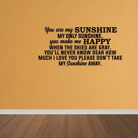 Wall Decal Quote You Are My Sunshine Kids Vinyl Lettering Wall Art DP152