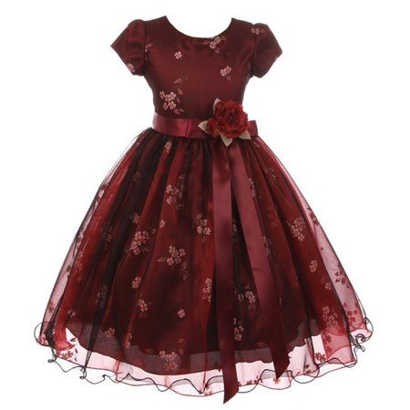 Kiki Kids Little Girls Burgundy Black Mesh Organza Flower Christmas Dress - Dress Kids Girl