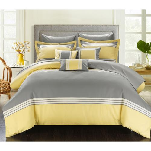 Chic Home Falconia Hotel Collection 10-piece Bed In a Bag with Sheet Set Green-Queen
