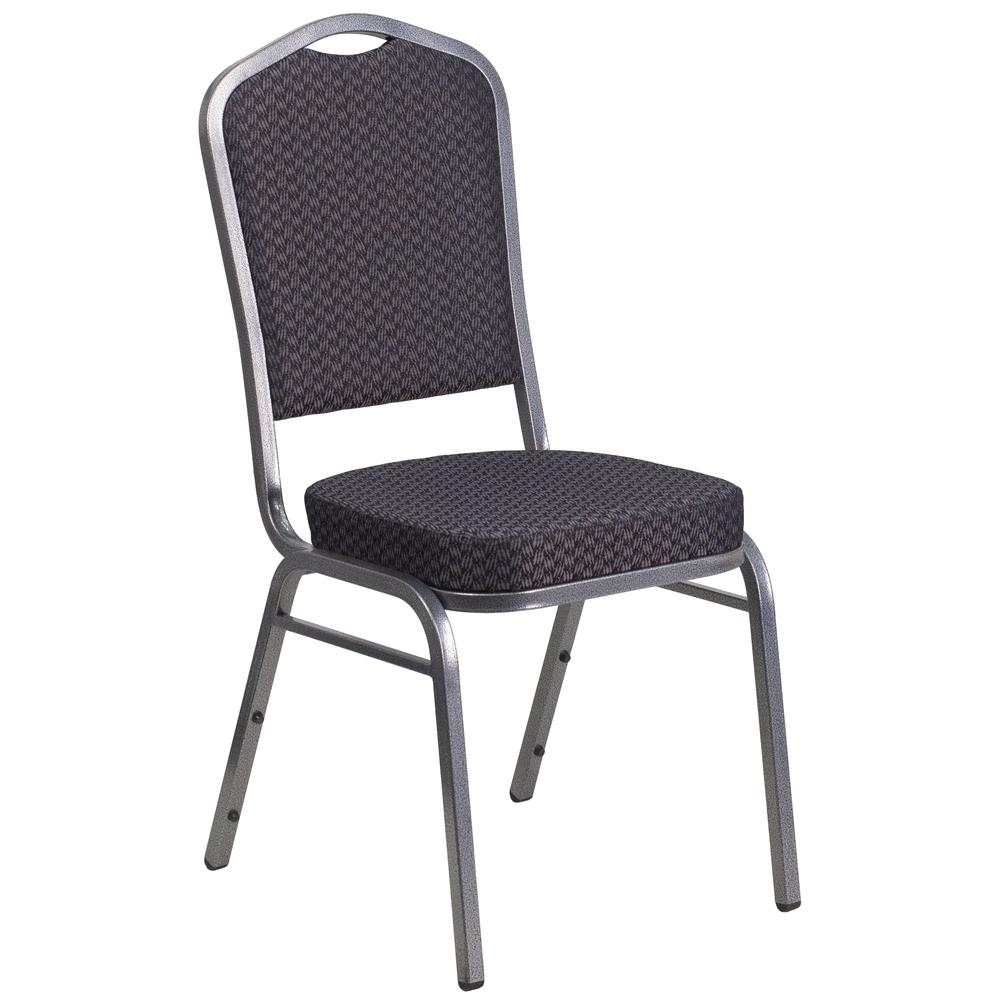 Crown Back Stacking Banquet Chair in Black Patterned Fabric - Silver Vein Frame